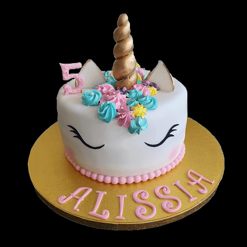 Gâteau en forme de tête de licorne avec crinière rose bleu violette et jaune